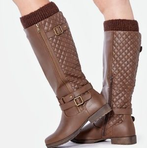 JustFab Cayte Brown Boots Quilted Riding Boots